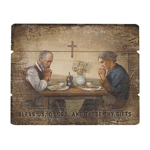 Bless us O Lord and these thy gifts pre printed pallet sign for home, church, kitchen, breakfast nook, dining room or friendship gift