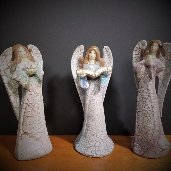 "Crackle Finish Three Angel set Porcelain Size: 7 1⁄4"" H for shelf, curio, friendship, Mother's Day and Angel lover"