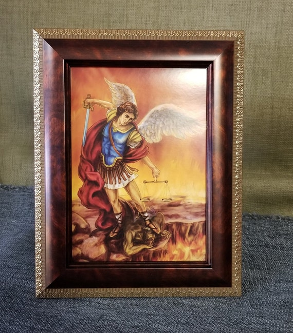"Saint Michael framed desktop or shelf picture 5"" X 7"""