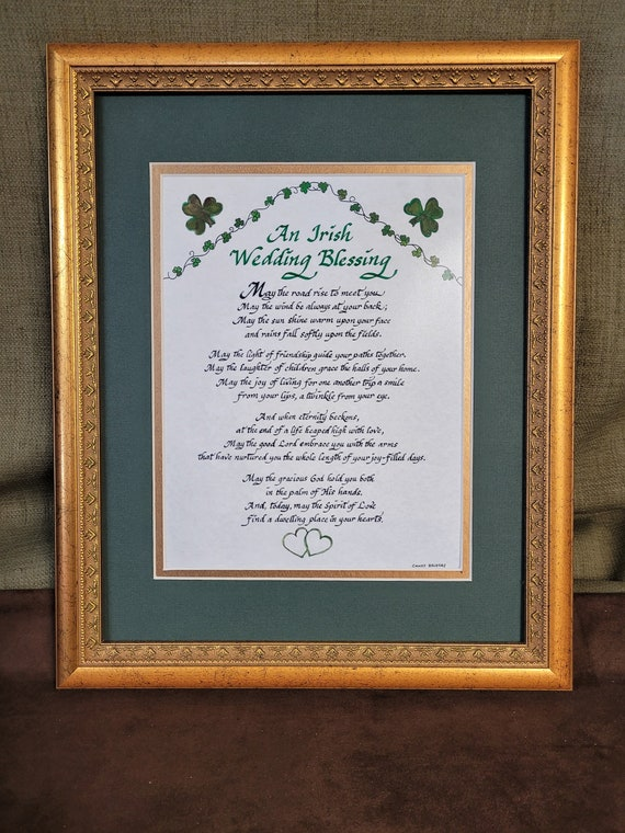 An Irish Wedding Blessing art and calligraphy gift with shamrocks and green hearts and option to personalize with antique ornate gold frame