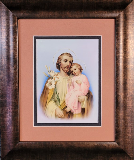 Saint Joseph picture with baby Jesus matted and framed wall art for home, office, church or friendship gift