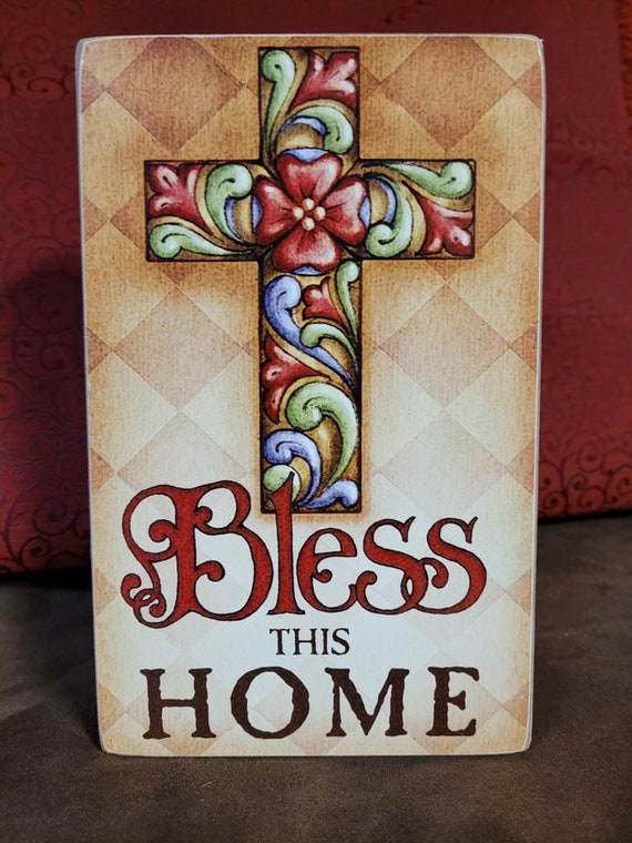 Jim Shore Cross - Bless This Home - Box Sign