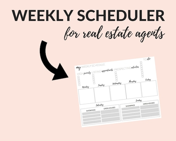 real estate weekly planner real estate templates real estate etsy