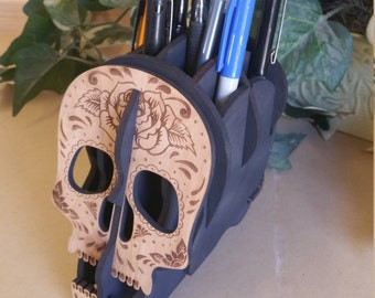 Sugar skull pen holder, desk organizer,wood sugar skull,sugar skull decor