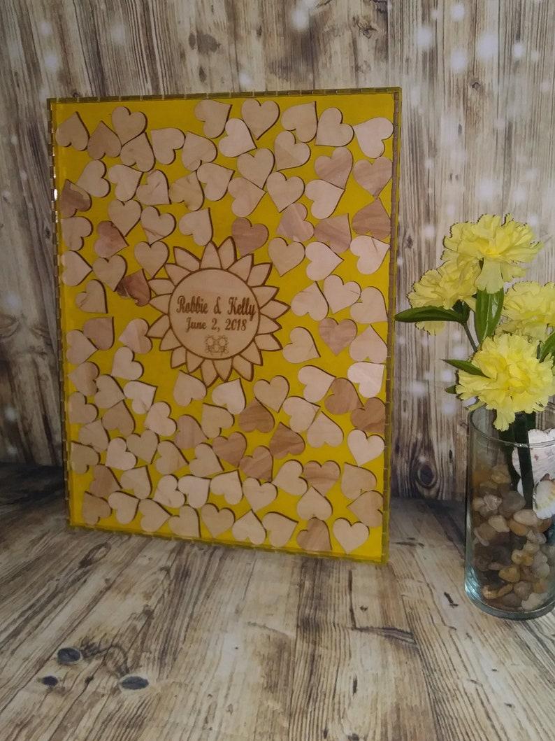 Wedding guest book alternative,Wedding guestbook,Guest book hearts,Rustic Wedding guest book,Drop box Guest Book Sunflower guest book