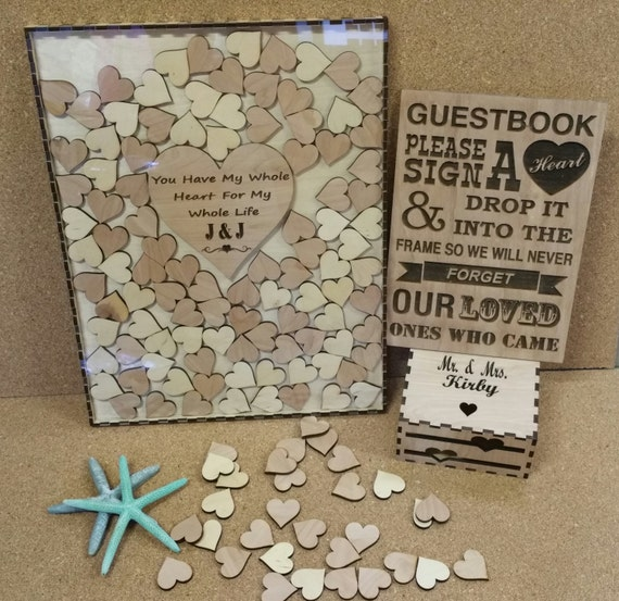 200 Heart Wedding Guest Book Drop Box Alternate Guestbook Etsy