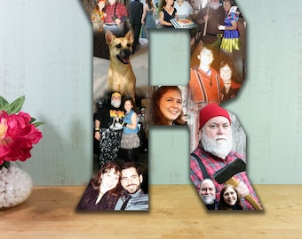 10 Inch Custom Photo Collage, Photo Collage Letter