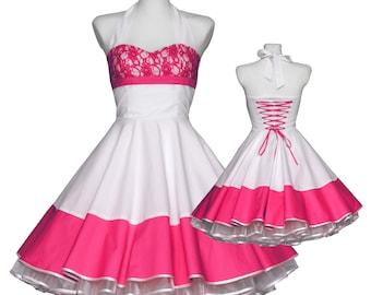 Vintage wedding dress white pink lace