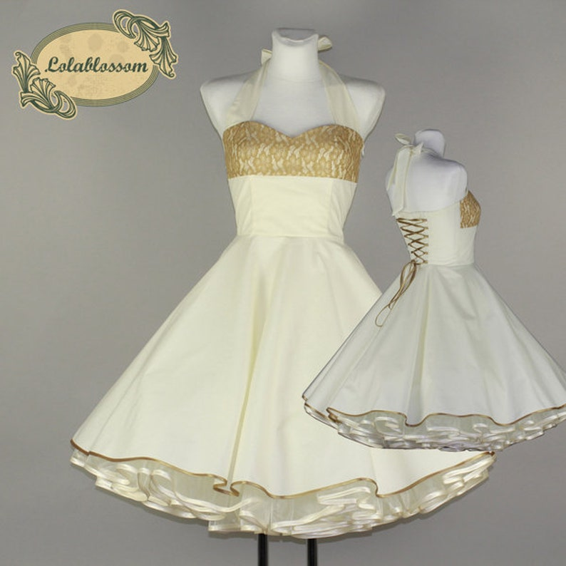 Cream Wedding Dress Gold Lace Alisa 80 Etsy