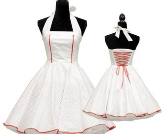 Wedding dress classic white small red polka dots