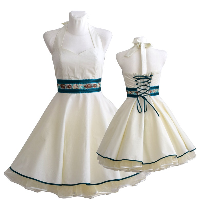 Rockabilly wedding dress in cream with petrol satin made to fit