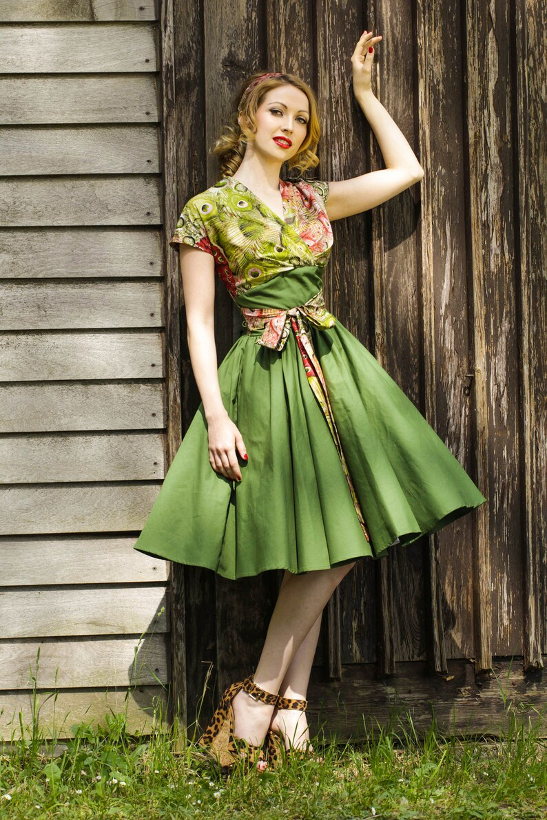 Green Safari 50s Dress