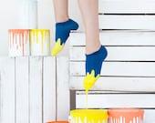 Melted Blue Low Socks   mens socks   colorful socks  womens socks   fun   sport socks   patterned socks   charity socks  worldwide delivery