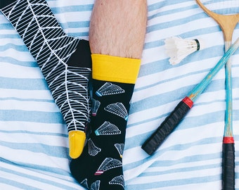 Badminton Time Socks   men socks   colorful socks   funny socks   mismatched socks  women socks   summer socks   crazy socks   Many Mornings