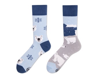 77426fd85a83d Polar Bear Socks | men socks | winter socks | cool socks | mismatched socks  | womens socks | unique socks | patterned socks | crazy socks