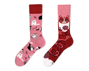00cb27fe3cdc4 Playful Cat Socks | men socks | colorful socks | cool socks | mismatched  socks | womens socks | unique socks | patterned socks | cats socks