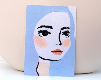 Card Lila - Card Painting Lady Woman - Stationary Postcard Face woman Wall Art Decoration Artwork print Acrylic Modern