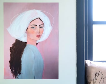 Poster Folklore 70x50 cm of Original Painting Portrait Woman - Print Face Wall Art Decoration print Artwork Acrylic Modern pink blue pastel