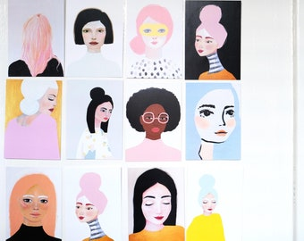 Portrait Parade - set of 12 cards - A6 Card of Original Painting Lady - Stationary Postcard Face woman Wall Art Decoration Artwork print