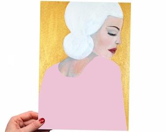 PRINT of Original Painting Portrait Woman - Face Wall Art Decoration Wall Art print Artwork A4 Acrylic Modern Gold Pink 340gsm  poster