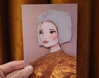 Bobbie A6 Card of Original Painting Woman - Stationary Postcard Face Girl Wall Art Decoration Wall Artwork print Acrylic Modern pastel
