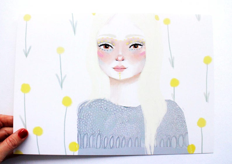 A4 Print Girl with flowers  Print of Original Painting  Face image 0