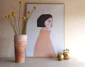 Growth - A2 Poster - Original Painting Portrait Women - Face Wall Art Decoration print Artwork Modern Large poster