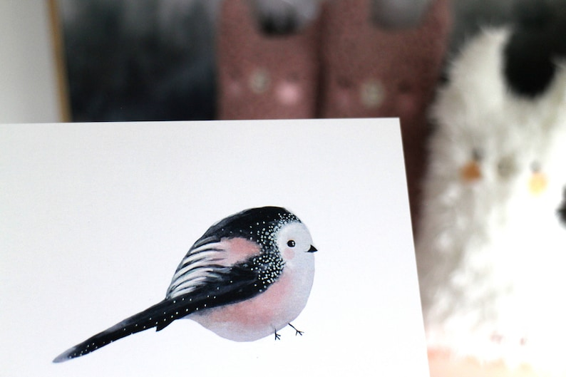 Stationary Cute bird Home deco garden card Birthday Love Anniversary Pink her him Blanco Kawaii Cute Long-tailed Tit Card