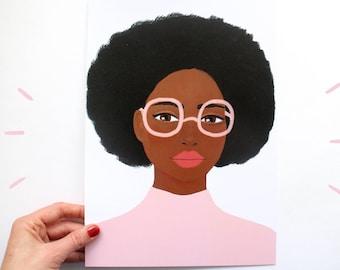 A4 Poster Roze Bril - Print van Schilderij Portret Vrouw Gezicht Illustratie - Kunst 340 A4 Acrylverf Modern Print Muur kunst roze zwart
