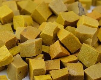 Yellow Hand-Cut Mosaic Smalti - 1/2 pound - 100+ tesserae pieces - 10 mm x 10 mm