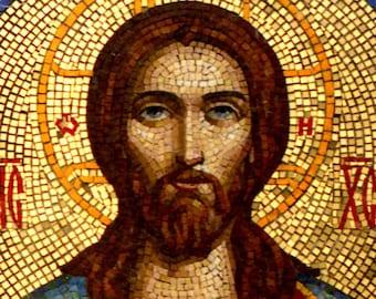 Mosaic Orthodox icon Religious icon Christian art Jesus Christ Orthodox art Byzantine art Religious art Christian icon Christian home décor