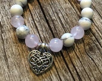 Child's Rose Quartz and Howlite Healing Gemstone Bracelet.             Silver Heart Charm Love  Calming Compassion Emotional Balance