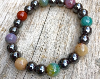 Magnetic Hematite and Indian Agate Bracelet  Pain Relief Wellbeing Healing  Confidence  Strength