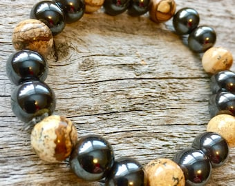 Magnetic Hematite and Picture Jasper Pain Relief Bracelet