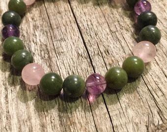 Caregiver Bracelet- Jade Fluorite Rose Quartz Perfect Gift For Mother's Day or Birthday!