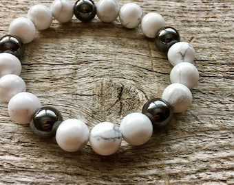 Magnetic Hematite and Howlite Bracelet - Pain Relief Calming