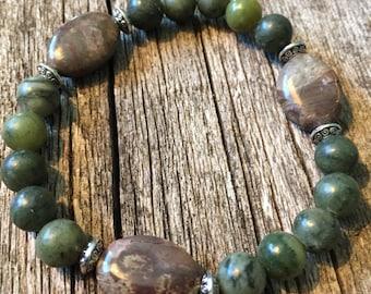 Jade and Oval Agate Healing Gemstone Bracelet with Tibetan Silver Beads. Harmony. Healing. Serenity. Yoga. Mala. Reiki