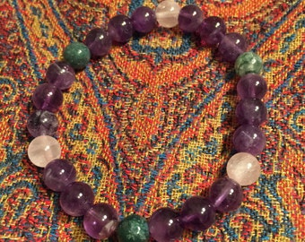 Childbirth Gemstone Bracelet Amethyst, Rose Quartz and Moss Agate  Reduces Pain in Childbirth. Baby Shower gift for moms!