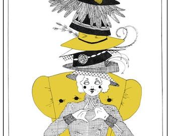 Blank greetings card, shopaholic, illustration, milliner, hats