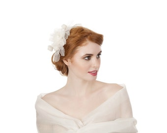 Ivory Organza Flower Comb
