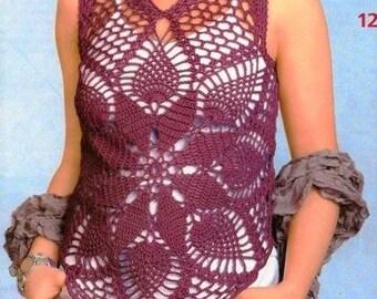 Crochet Pineapple Crochet Pullover Top Motif PATTERN-PDF Download