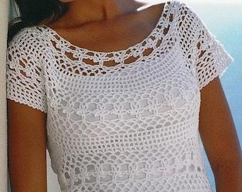 Crochet U.K. Lace Top Pattern, Crochet top pattern, Summer top pattern, - Plus Sizes -  PDF Download- U.K.Version