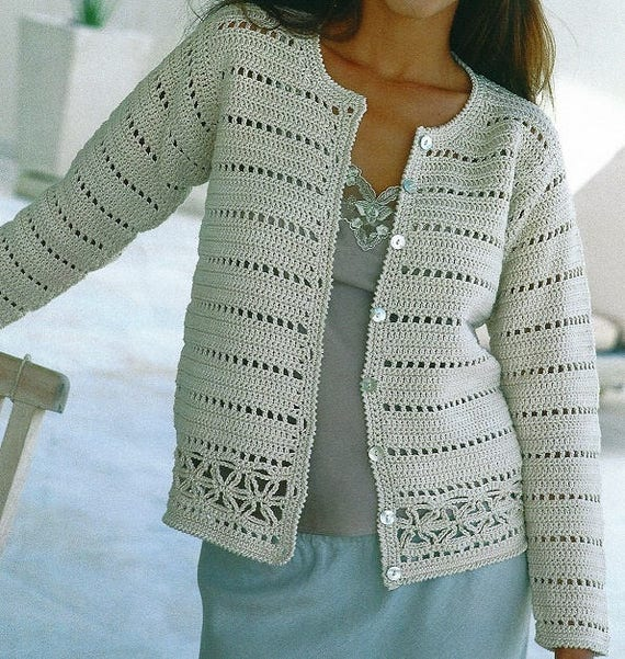 Crochet Cardigan Pattern Ladies Womens Girls Church Office Etsy