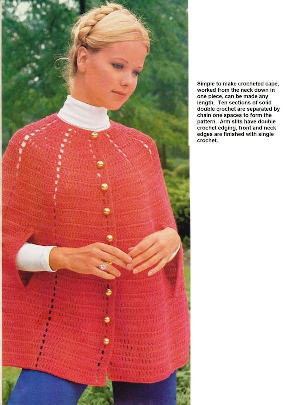Crochet Shawl Pattern Crochet Womens Cape Brass Buttoned Down Etsy