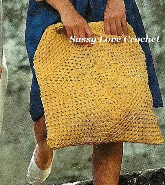 Crochet Beach Bag Pattern Crochet Motif Granny Squares Bag Etsy