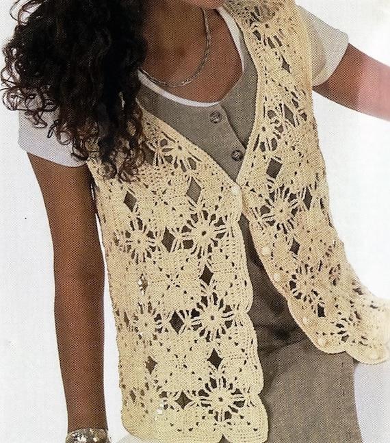 Crochet Motif Vest Pattern Crochet Vest Pattern Womens Etsy