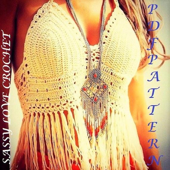Crochet Halter Top Pattern Designer Boho Festival Gipsy Etsy