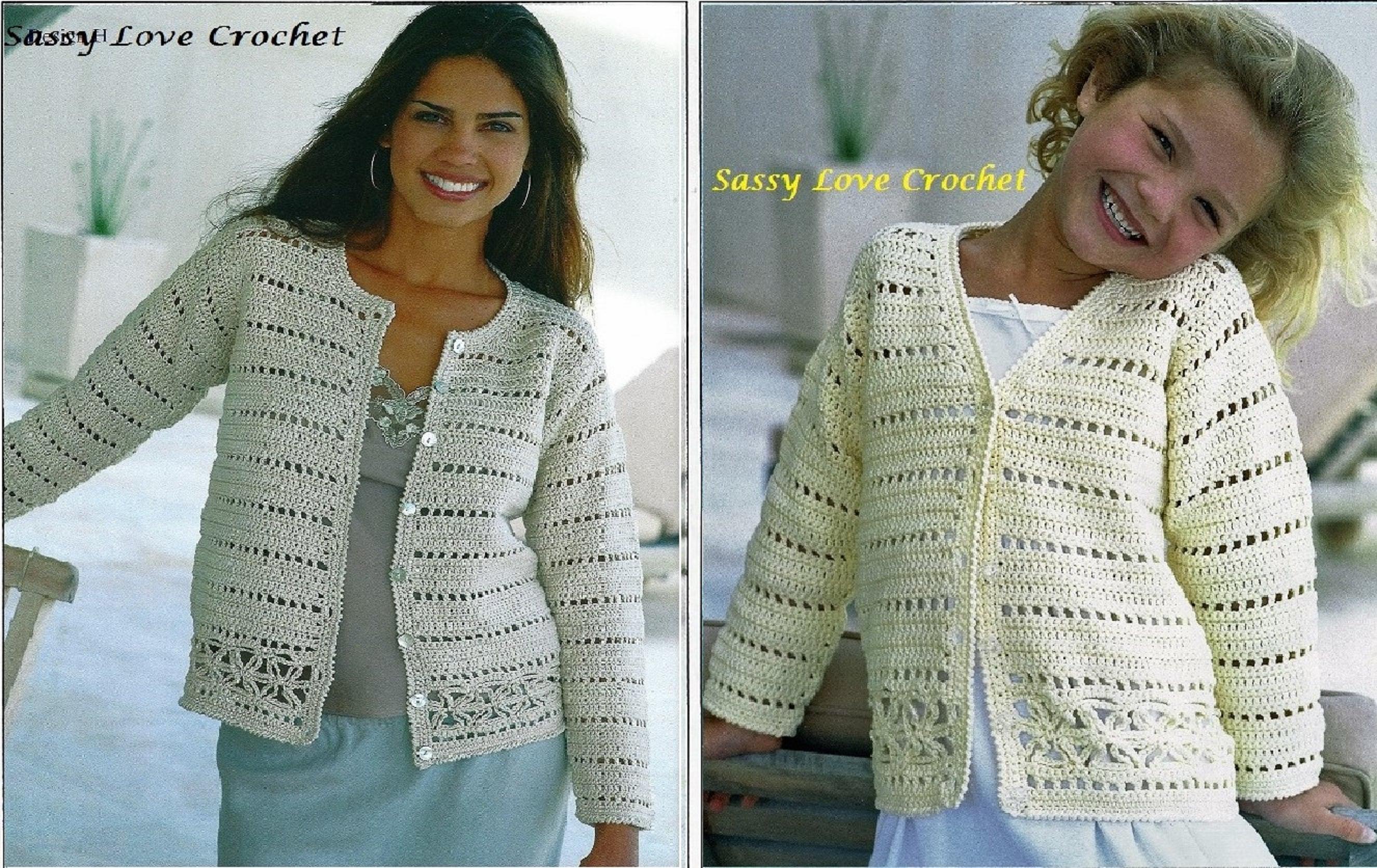 Crochet Cardigan Pattern, Ladies Womens Girls Church Office Summer ...
