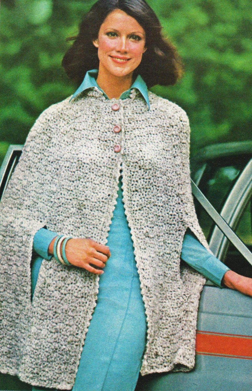 vintage crochet cape pattern gray tweed cape with slits etsy. Black Bedroom Furniture Sets. Home Design Ideas