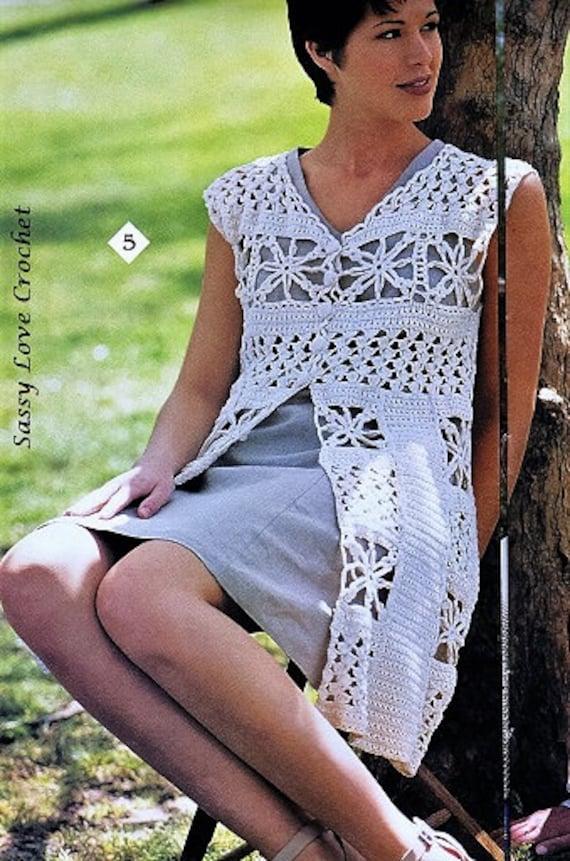 Crochet Duster Pattern Motif Vest Patterncardigan Sweater Wrap